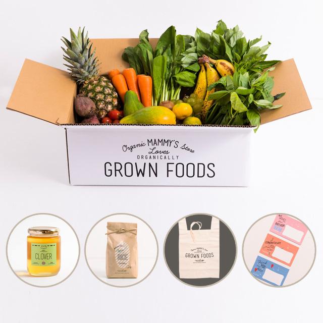 有機栽培野菜が11種類入った、オーガニックボックスと無農薬・有機栽培米&国産100%幸せを呼ぶクローバーのハチミツ(300g)のセット